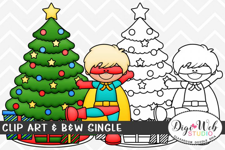 Clip Art & B&W Single - Superhero Boy w/ Christmas Tree
