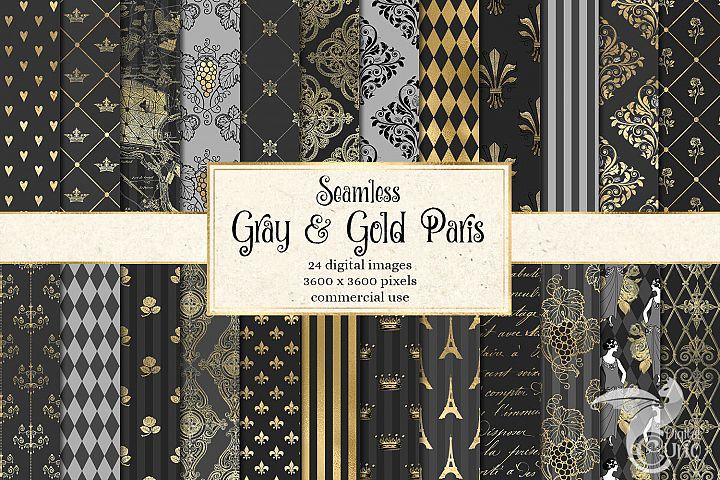 Gray and Gold Paris Digital Paper