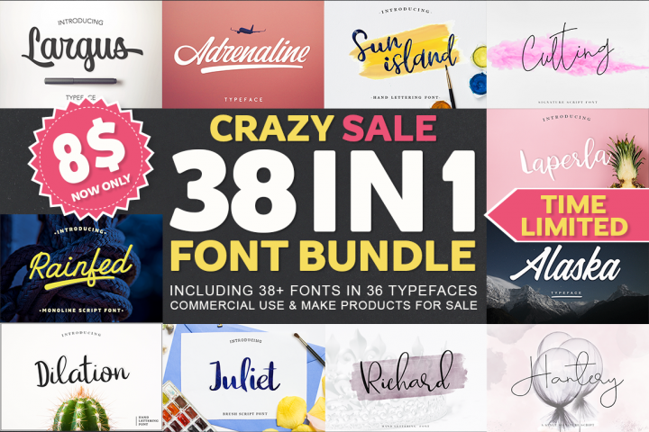 38 IN 1 Font Bundle BIG SALE!