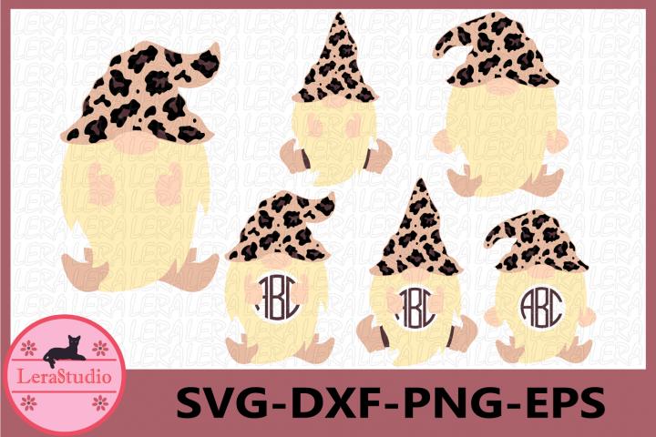 Gnome Leopard Svg, Gnome Monogram Frames Svg