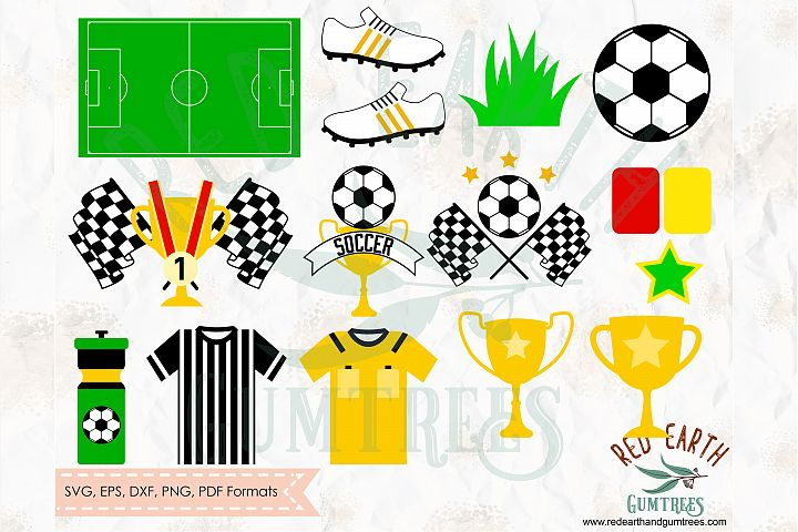Soccer party theme bundle, football elements SVG,DXF,PNG,EPS