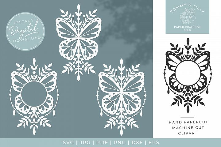 Foliage Butterfly x 3 - SVG DXF PNG EPS JPG PDF Cutting
