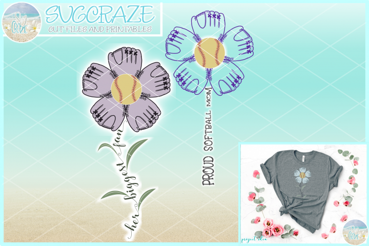 Proud Softball Mom Her Biggest Fan Flower with Leaves SVG