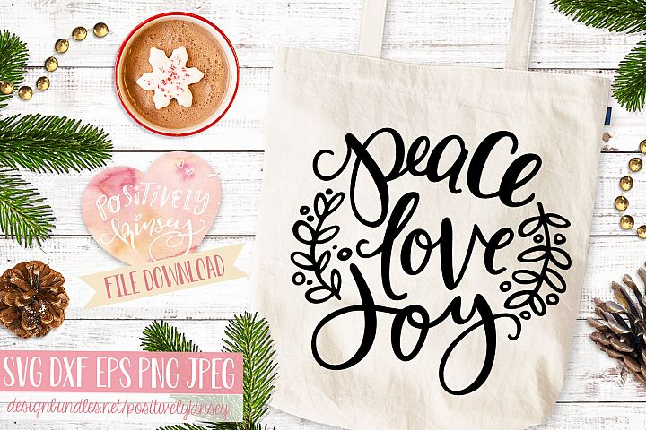 Holiday SVG DXF PNG EPS Peace Love Joy, Christmas SVG File