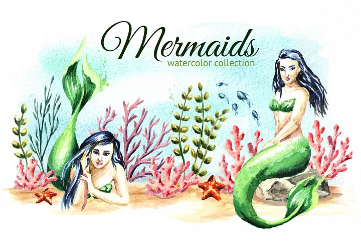 Mermaids. Watercolor collection