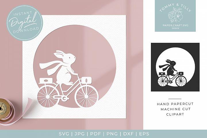 Bunny on a Bike Frame - SVG Papercut Cutting File