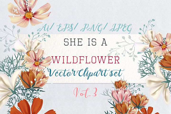 She is wildflower, vector clip art set 3