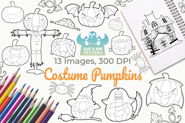Costume Pumpkins Digital Stamps
