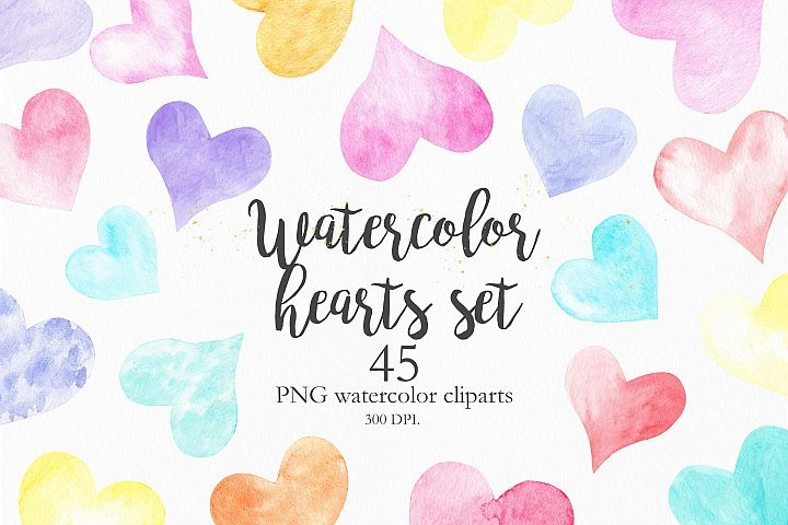 Watercolor Rainbow Hearts Collection