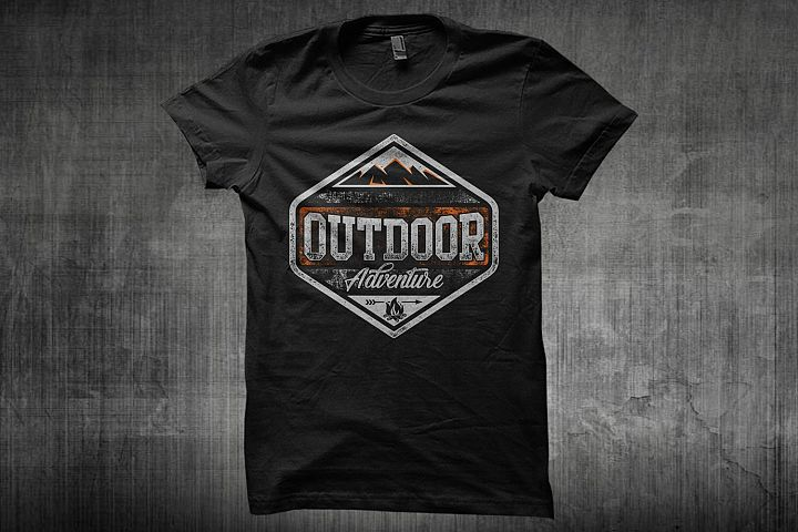 Typography Outdoor Adventure, Hiking, Camping, Mountain