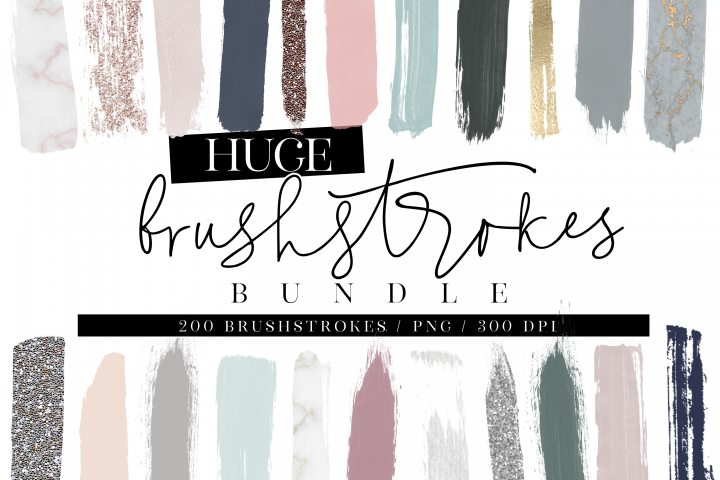 200 Watercolor Brushstrokes BUNDLE