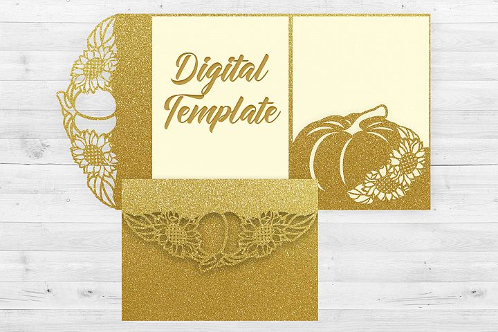 Sunflower wedding invitation template, Pumpkin invitation