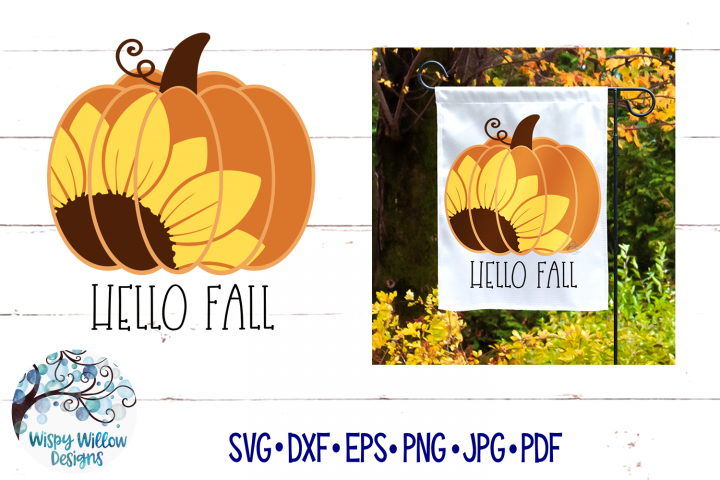 Hello Fall SVG | Sunflower Pumpkin SVG | Fall SVG Cut File