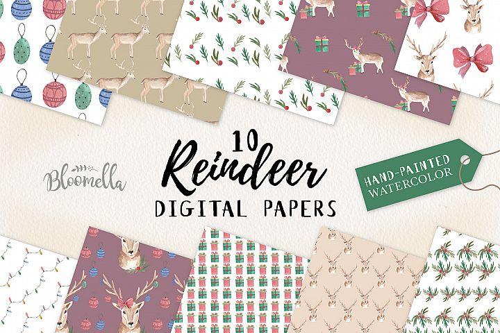 Reindeer Seamless Patterns Digital Baubles Bow Holidays Deer