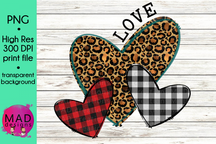 Valentine Day Love Hearts - Buffalo Plaid and Leopard Print