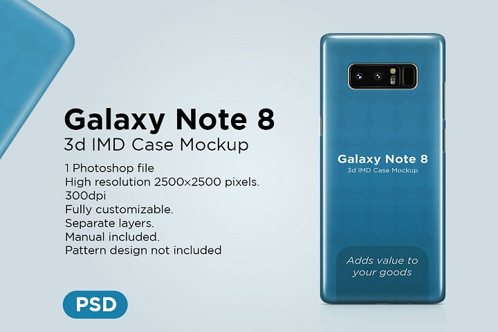 Samsung Galaxy Note 8 3d IMD Case Mockup