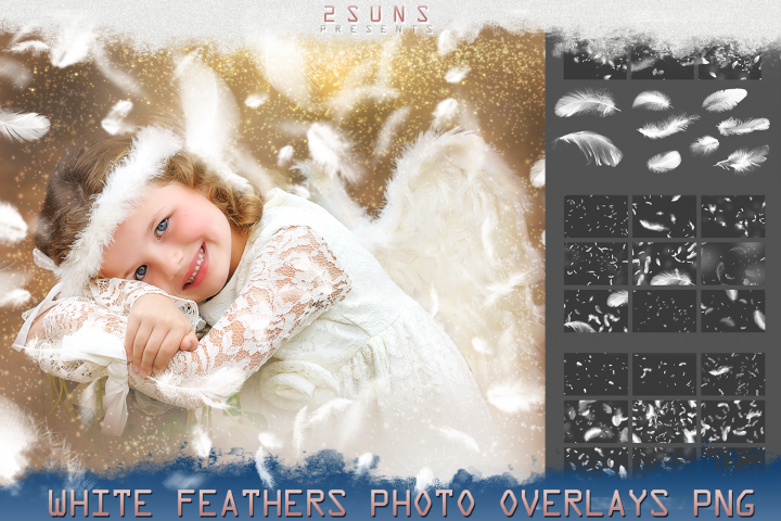 Feather Overlays, Angel, White Feather, PNG Photo Overlays