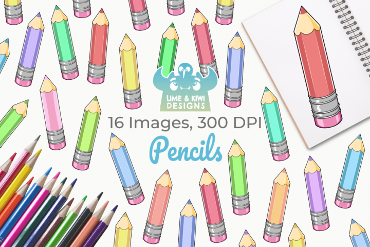 Pencils Digital Clipart, Instant Download Vector Art