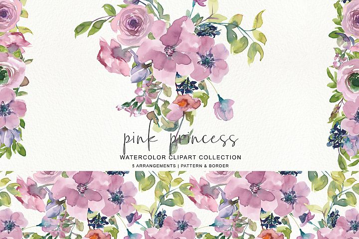 Watercolor Mauve Rose Clipart Pattern and Border