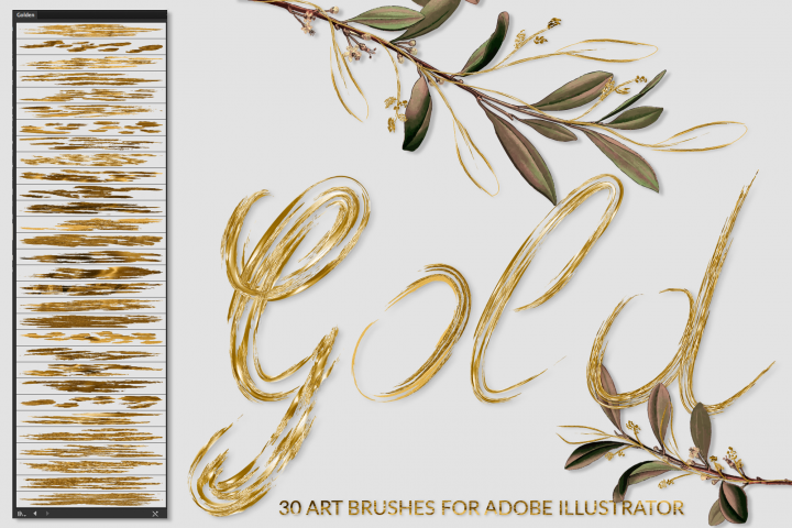 Gold Brushes for Illustrator