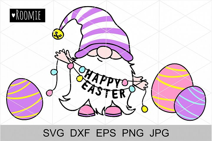 Gnome with Happy Easter, eggs SVG. Silhouette, Cricut file