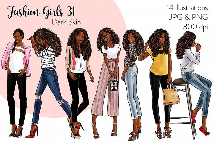 Fashion illustration clipart - Fashion Girls 31 - Dark Skin