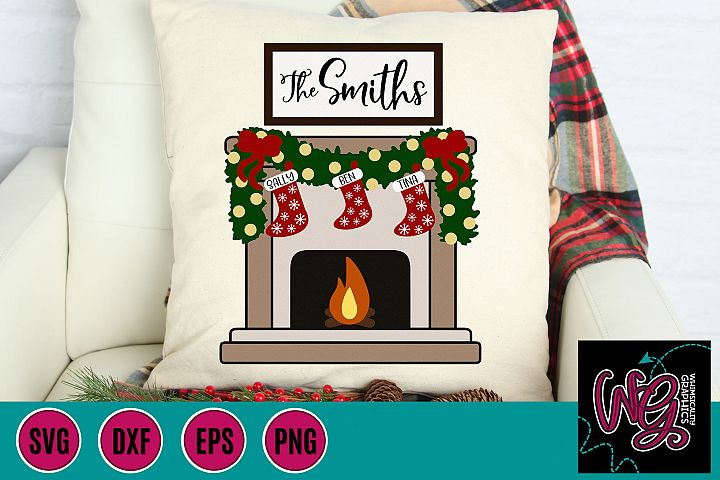 Christmas Fireplace Stockings Personalize SVG, DXF, PNG, EPS