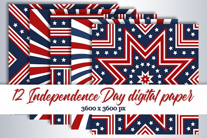 12 Fourth of July digital paper Background
