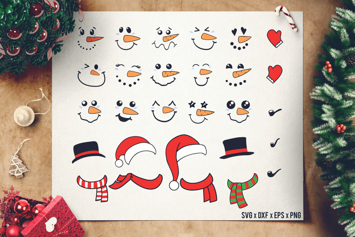 Snowman Face SVG Bundle Accesories - Snowman SVG - Cutomize