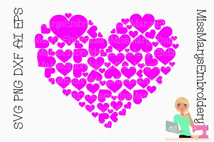 Heart Full of Hearts SVG Cutting File PNG DXF AI EPS