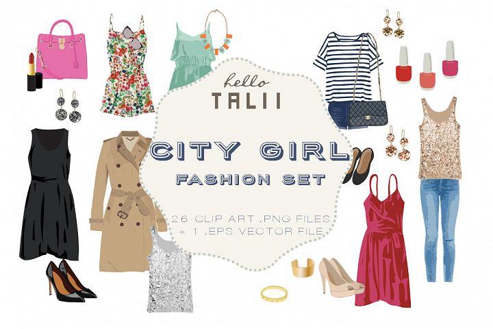 City Girl Fashion Clip Art