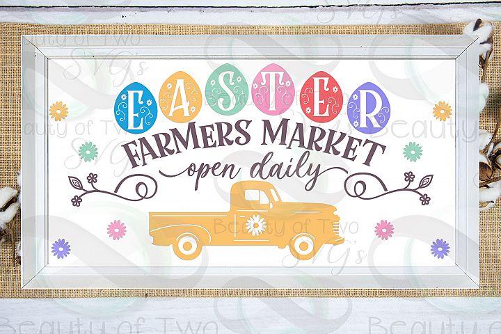 Easter Farmers Market Easter Eggs svg, Vintage Truck svg,