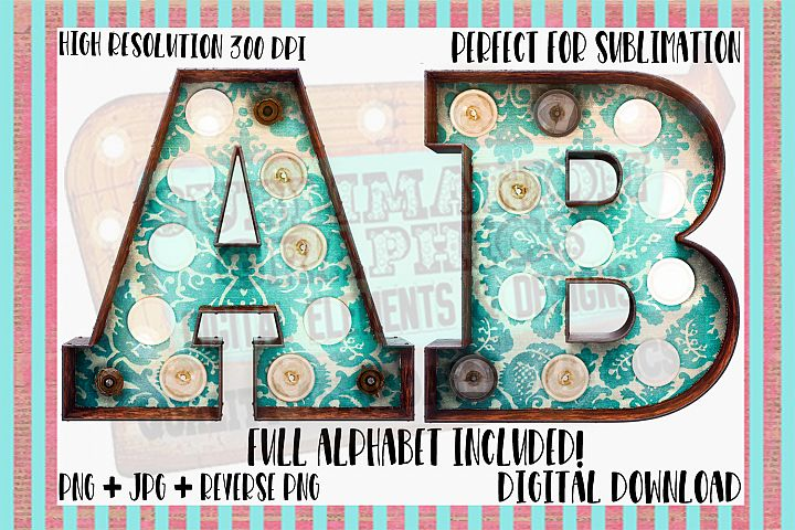 Turquoise Demask Marquee Sublimation Digital Download