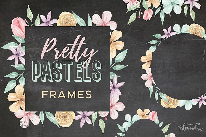 Pretty Pastels 7 Frames Wedding Floral Flowers Mint Pink