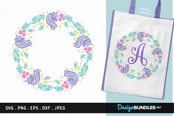 Unicorns Round Monogram Frame - svg cut file, printable - Free Design of The Week