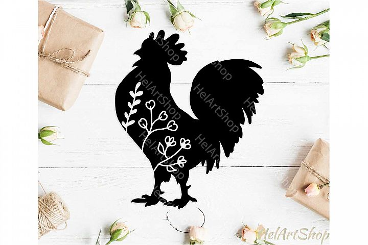Floral Rooster svg, Farm svg, Farm animals svg