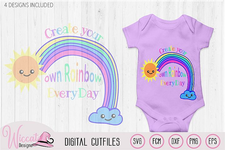 Make your own rainbow quote svg, kawaii rainbow, Kids design