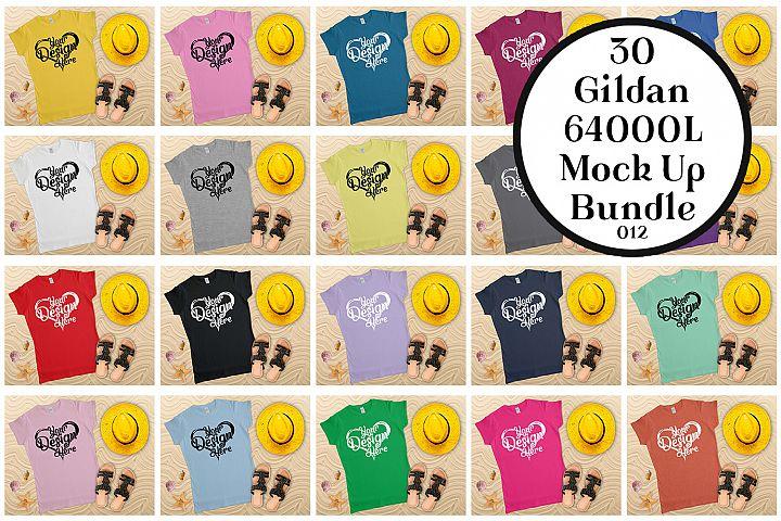 Gildan Ladies T-Shirt Mockup Bundle Flat Lay