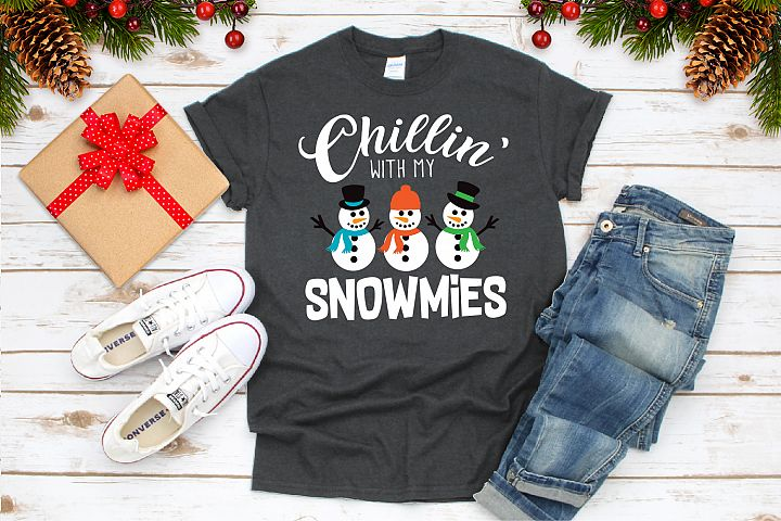Chillin with my Snowmies Svg, Christmas Snowmans Svg