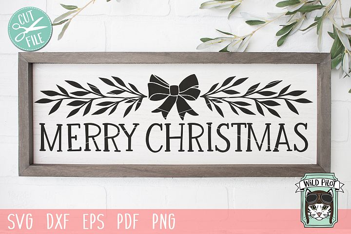 Merry Christmas Sign svg, Bow and Laurel Leaf Holiday Border