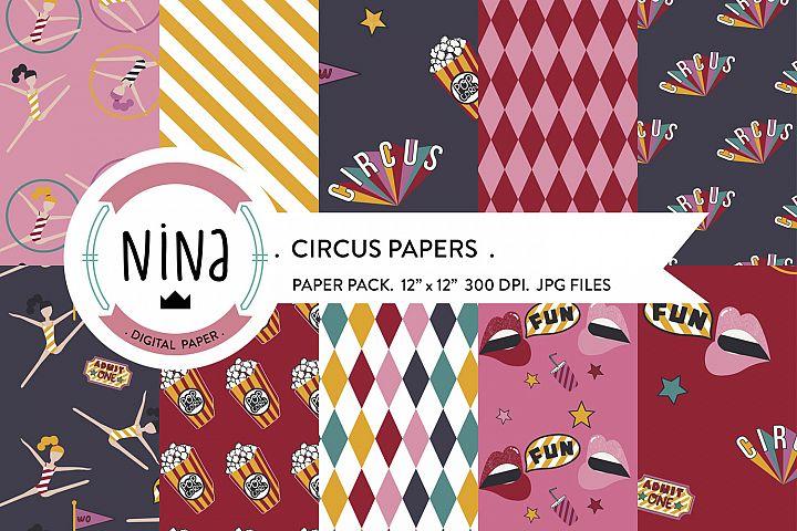 Circus digital paper, circus scrapbook paper, diamond papers