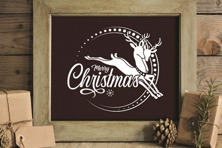 Merry Christmas, Reindeer, Vintage, PRINT, CUT, DESIGN