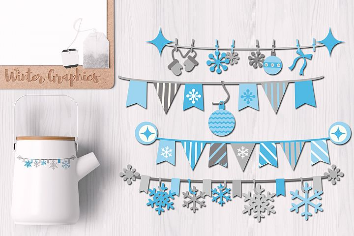 Winter Pennant Banners Blue Gray
