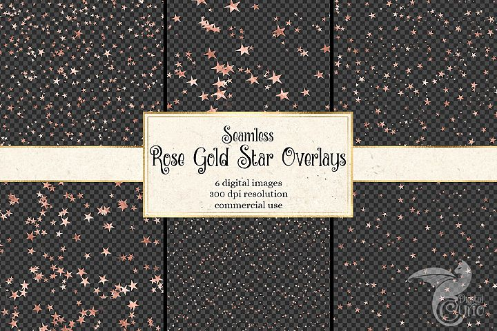 Seamless Rose Gold Star Overlays