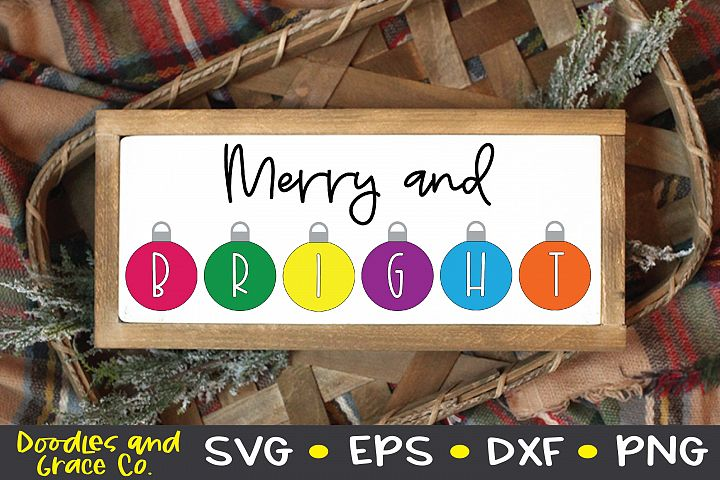 Merry and Bright SVG - Christmas SVG