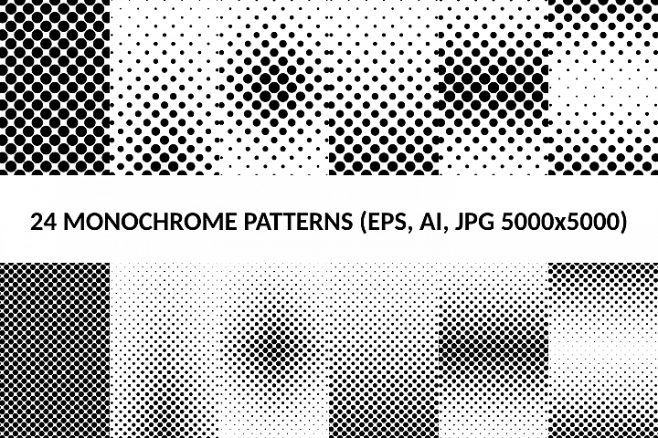 24 Dot Patterns AI, EPS, JPG 5000x5000