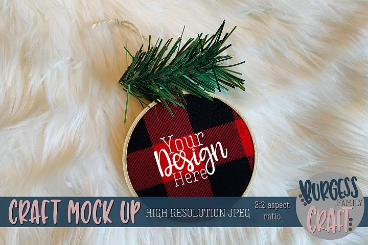 Plaid embroidery hoop ornament5 Craft mock up  High Res JPEG