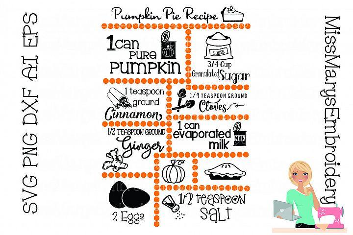 Pumpkin Pie Recipe SVG Cut File