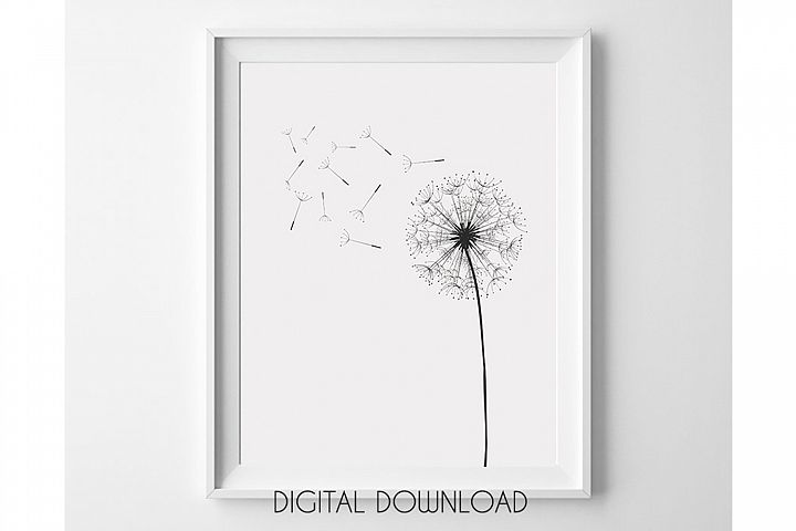 Dandelion Wall Art, Black and White Prints, Monochrome Print