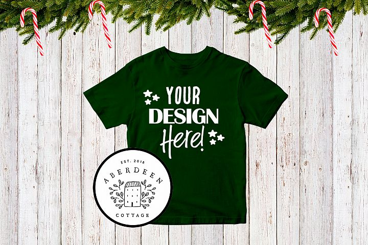 Childrens Christmas Green T-Shirt Mock Up Style 2
